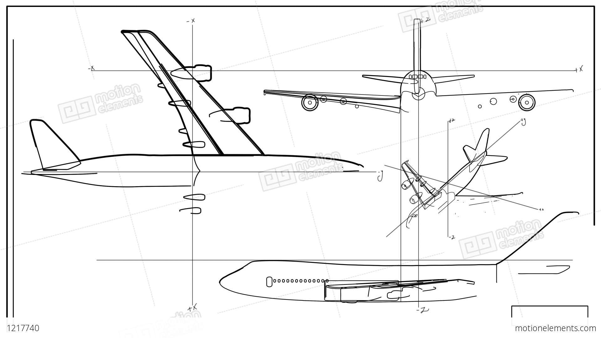 aircraft technical drawing time lapse stock animation 1217740