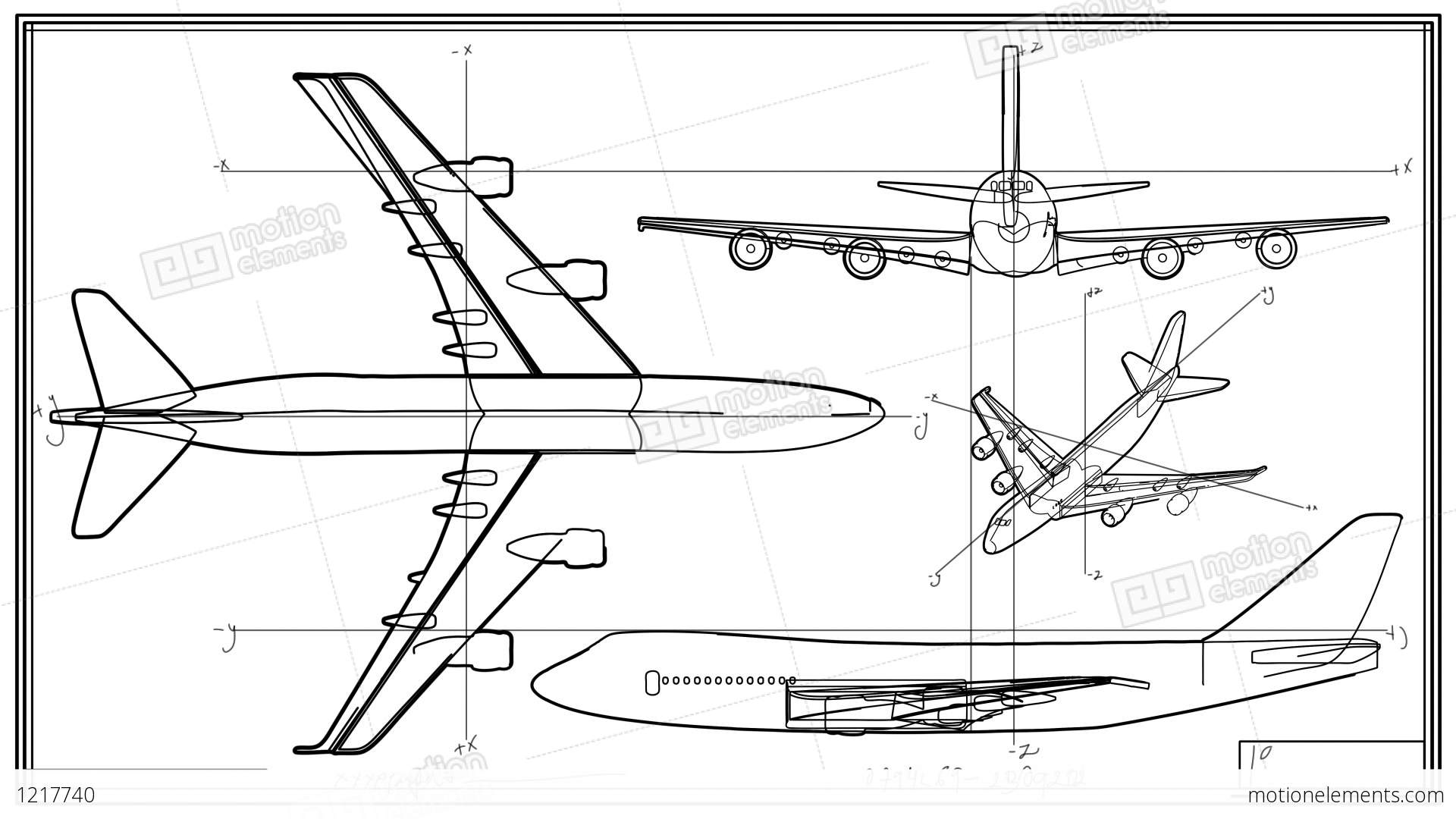 aircraft technical drawing time lapse stock animation 1217740. Black Bedroom Furniture Sets. Home Design Ideas
