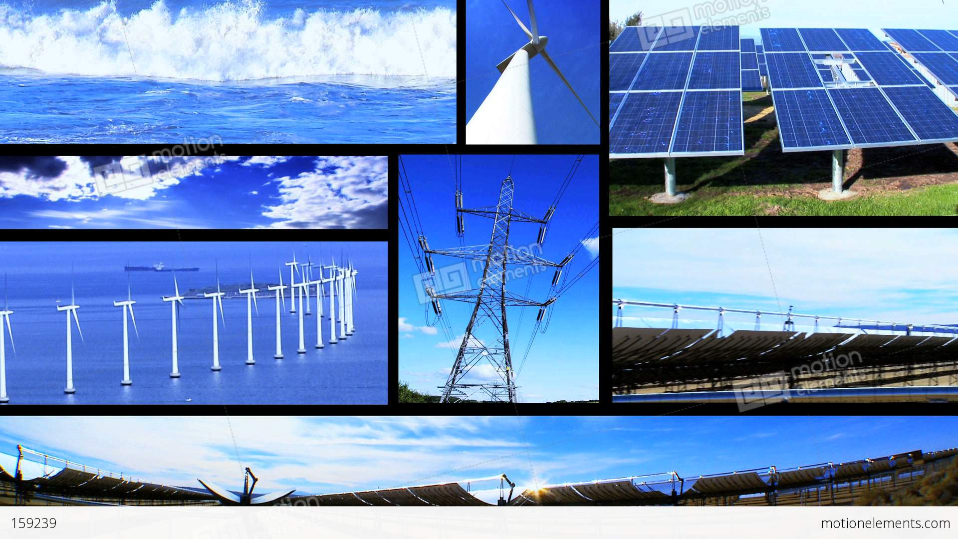 Montage Of Moving Images Of Renewable Energy Amp Power