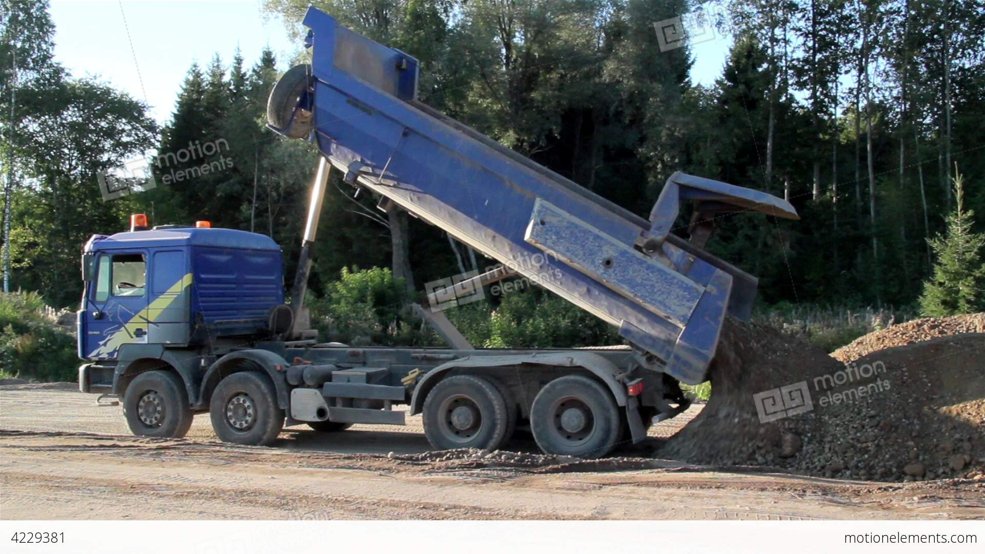A Dump Truck Unloading Sand And Soil House Stock Video Footage