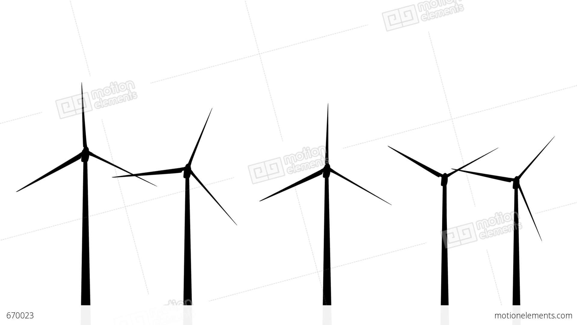 wind turbines silhouette 01 loop stock animation
