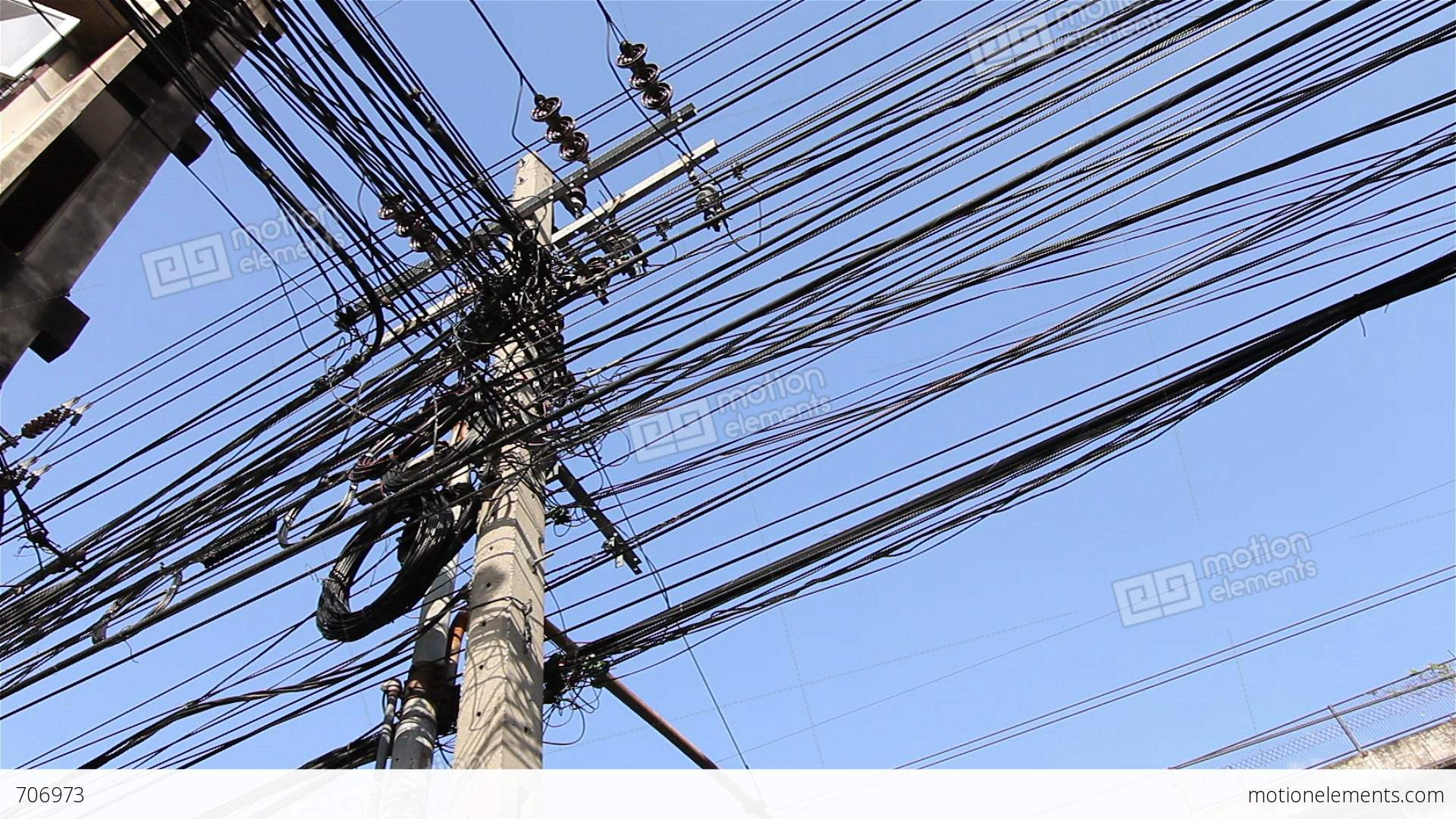 messy electric cables stock video footage 706973