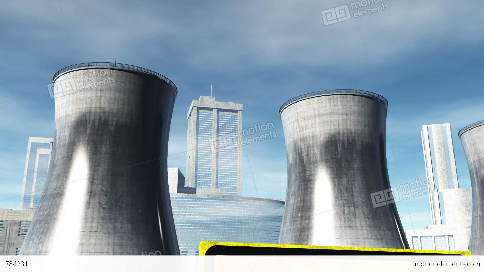 Nuclear Factory And Towers 04 Stock Animation