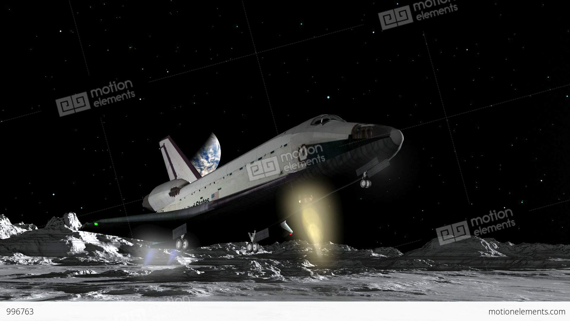 Space Shuttle Moon Landing CGI HD Stock Animation | 996763
