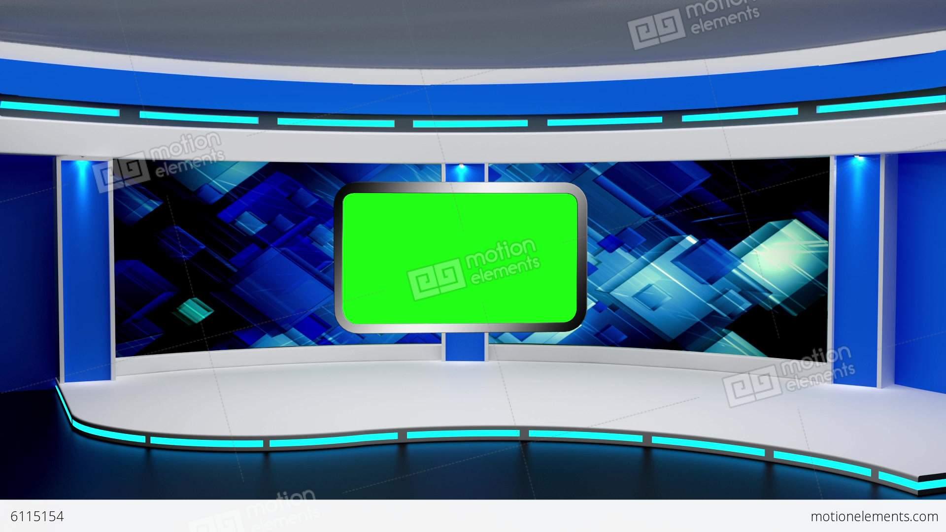 News TV Studio Set 03 Virtual Green Screen Backgro Stock