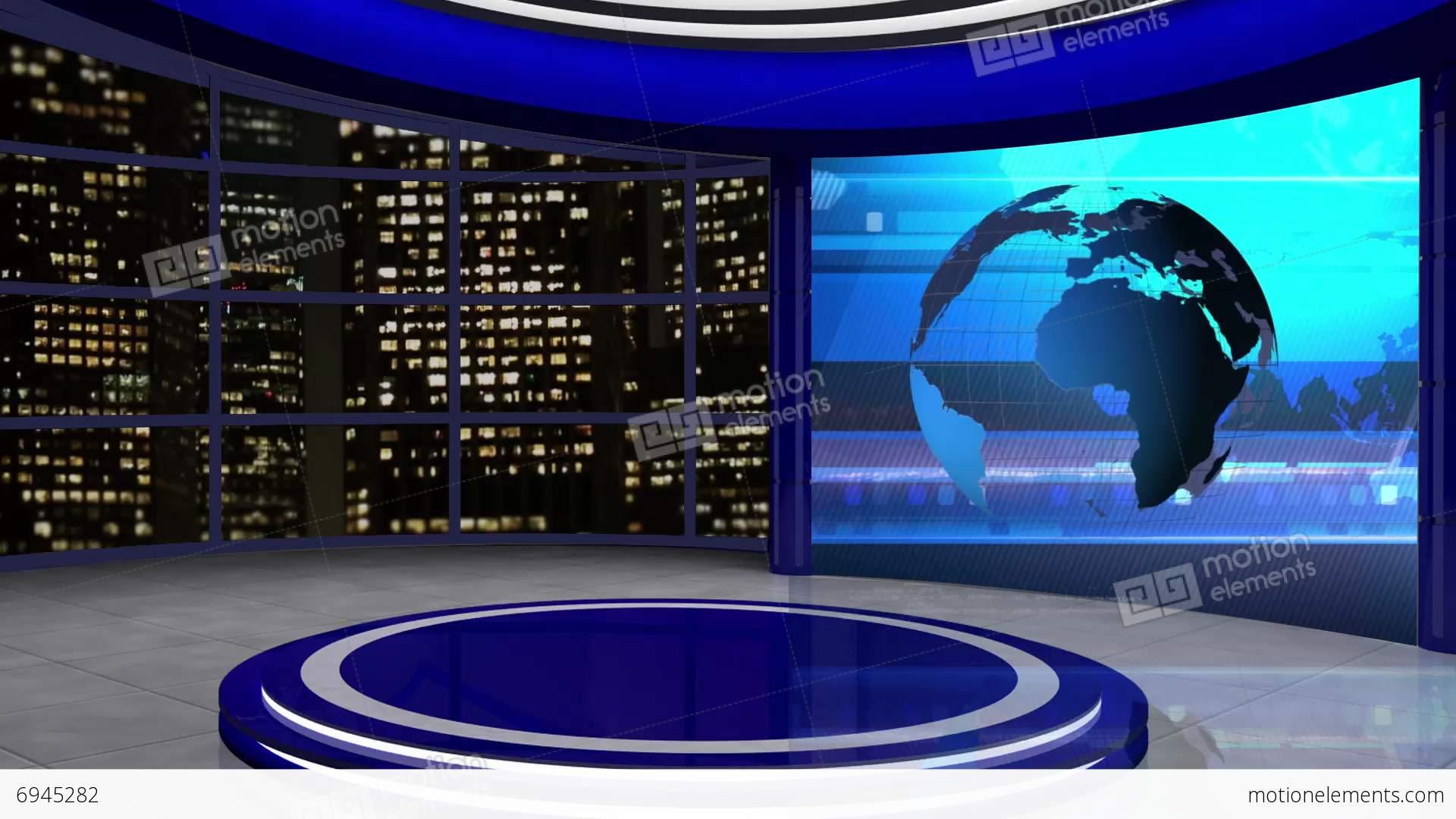 News tv studio set 61 virtual green screen background loop stock video