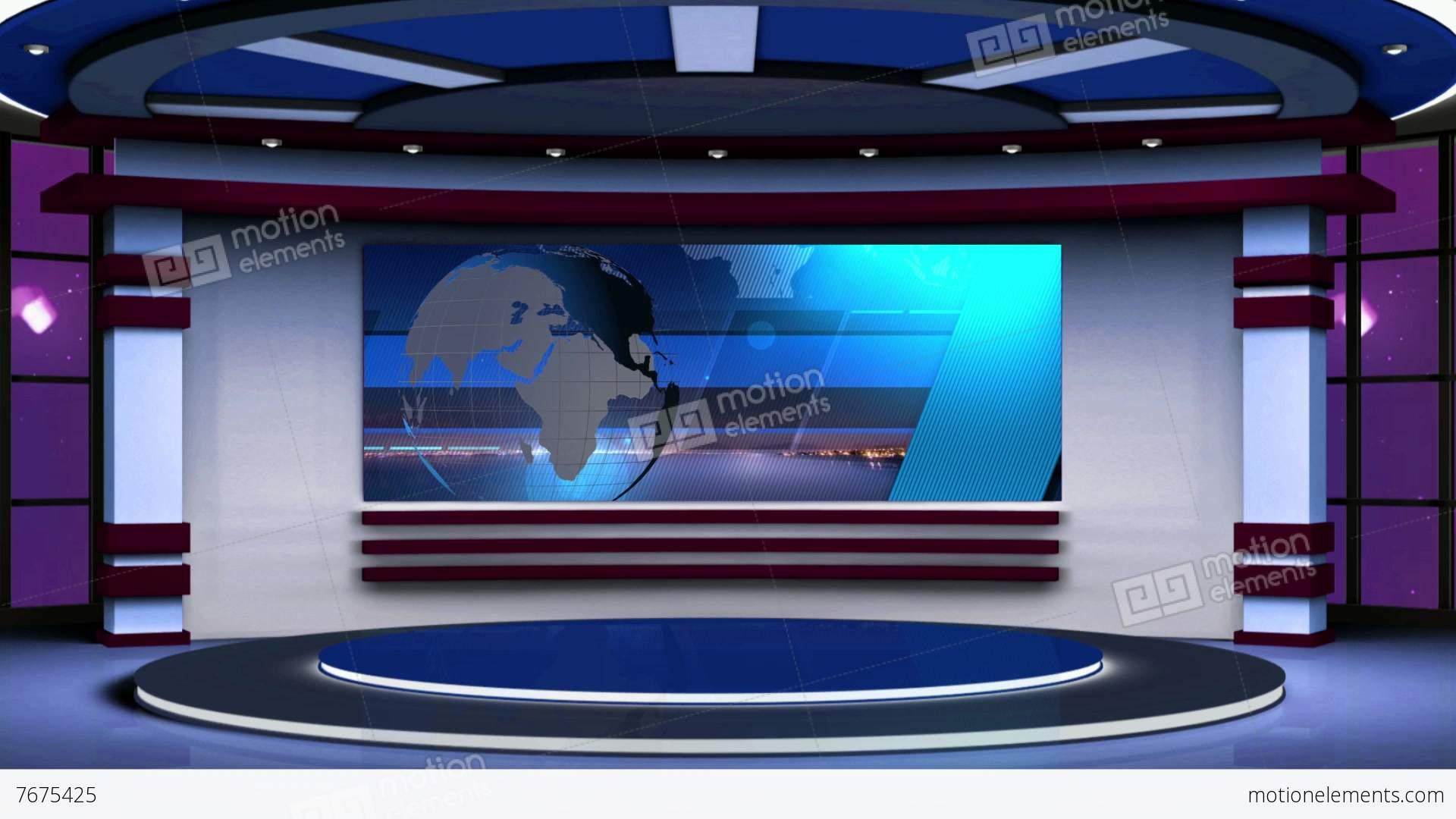 News Tv Studio Set 63 Virtual Green Screen Background Loop