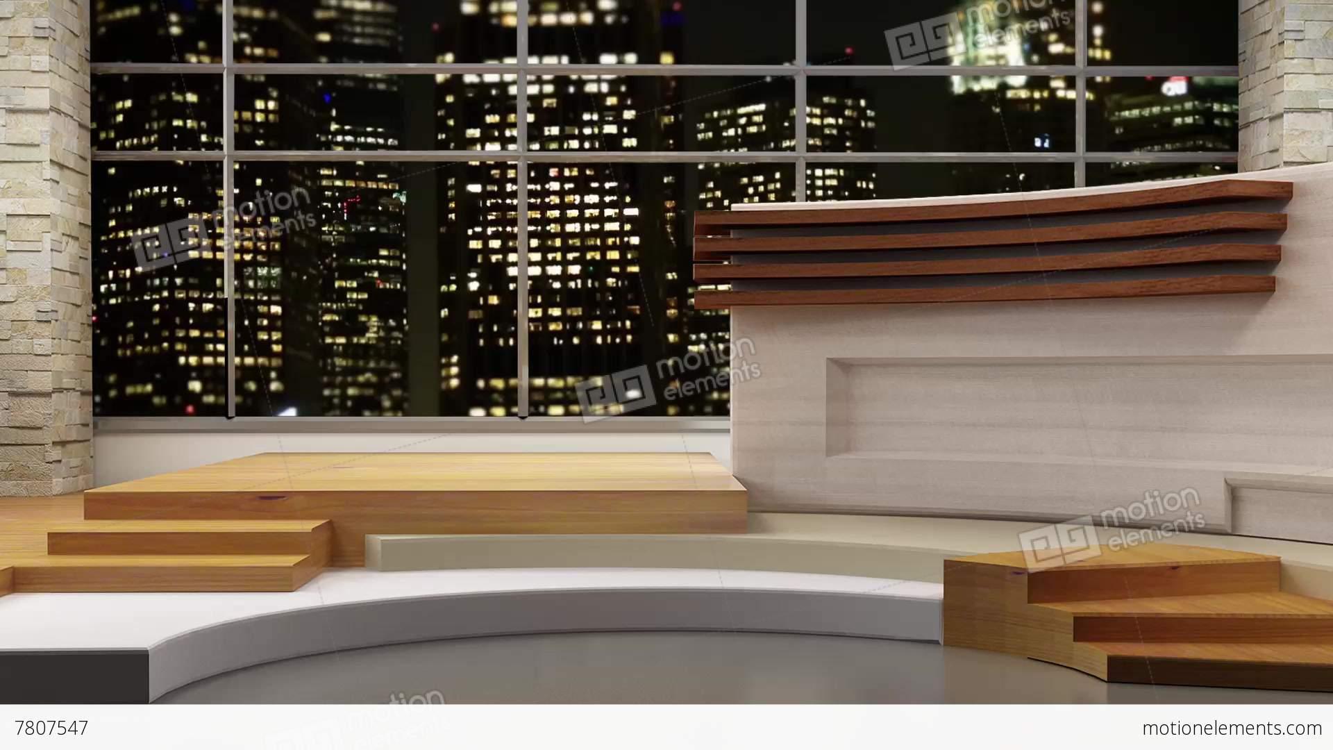 News TV Studio Set 80 - Virtual Background Loop Stock video footage