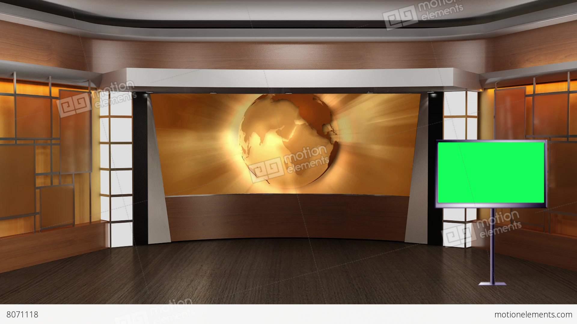 News TV Studio Set 83 Virtual Green Screen Background Loop