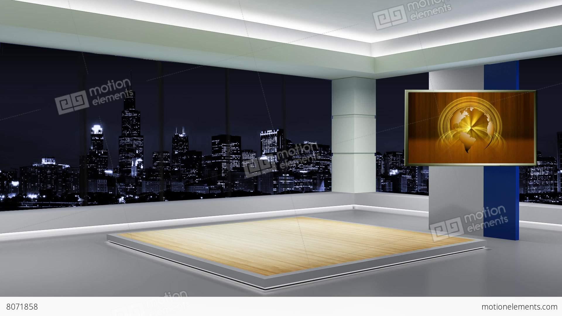 News Tv Studio Set 89 Virtual Green Screen Background Loop