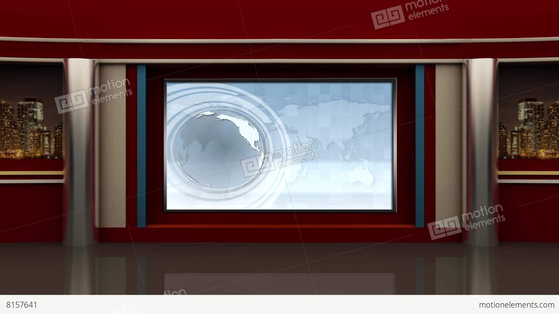 News Tv Studio Set 91 Virtual Green Screen Background Loop
