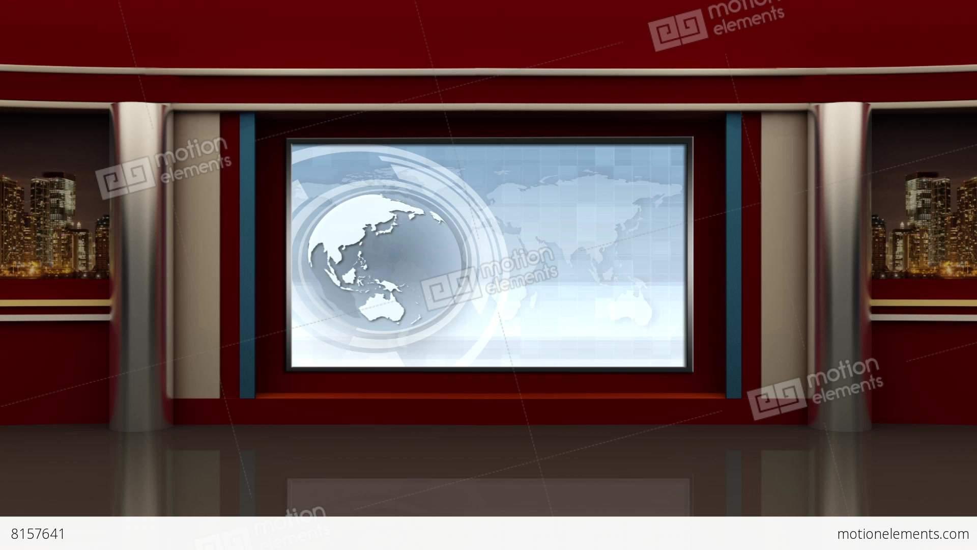News Tv Studio Set 91 Virtual Background Loop Stock