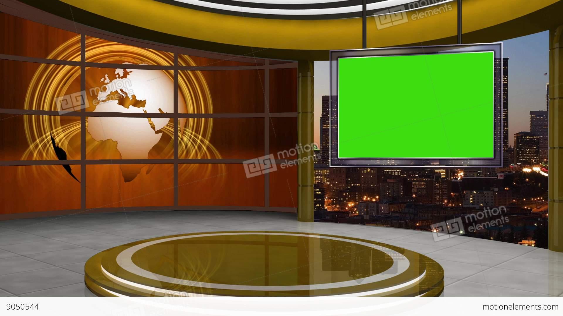 News TV Studio Set 106 Virtual Green Screen Background Loop Stock Video Footage