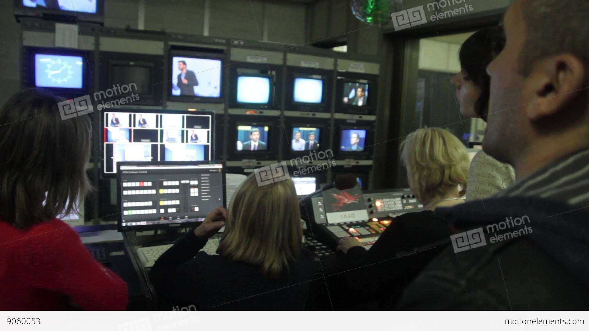 People In The Control Room On Air Live Tv Studio Stock Video Footage 9060053