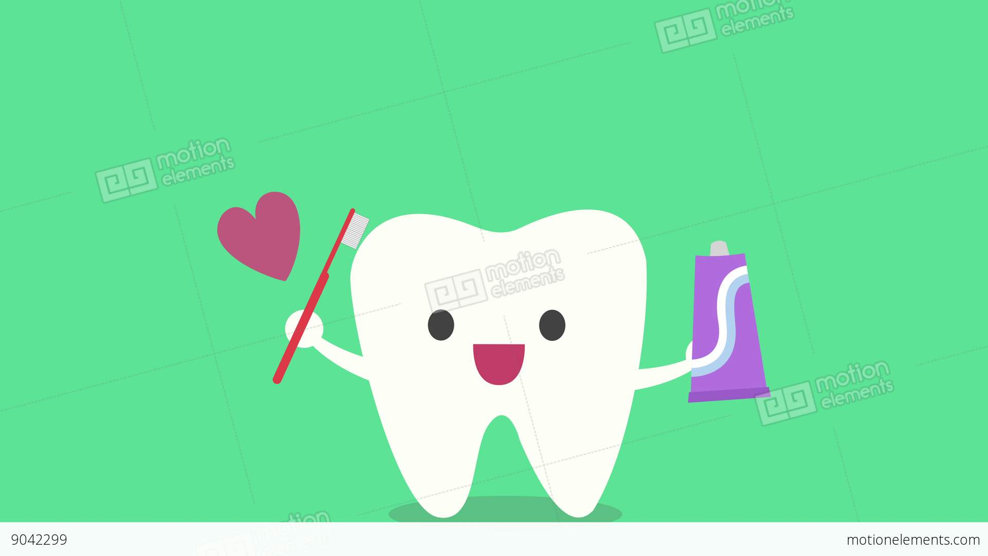 The Concept Of Taking Care Of The Teeth, Cute Cartoon Tooth ...