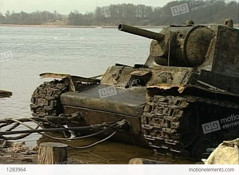 Sunken Tank KV-1 Was Pulled From The River Stock video ... Sunken Tank