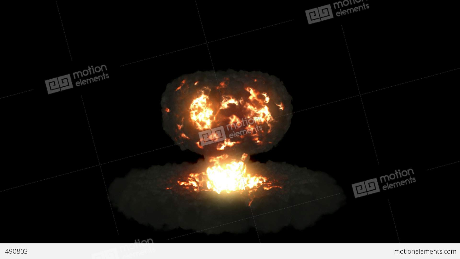 Explosion with mushroom cloud and slow motion. Alpha... Stock Video ...