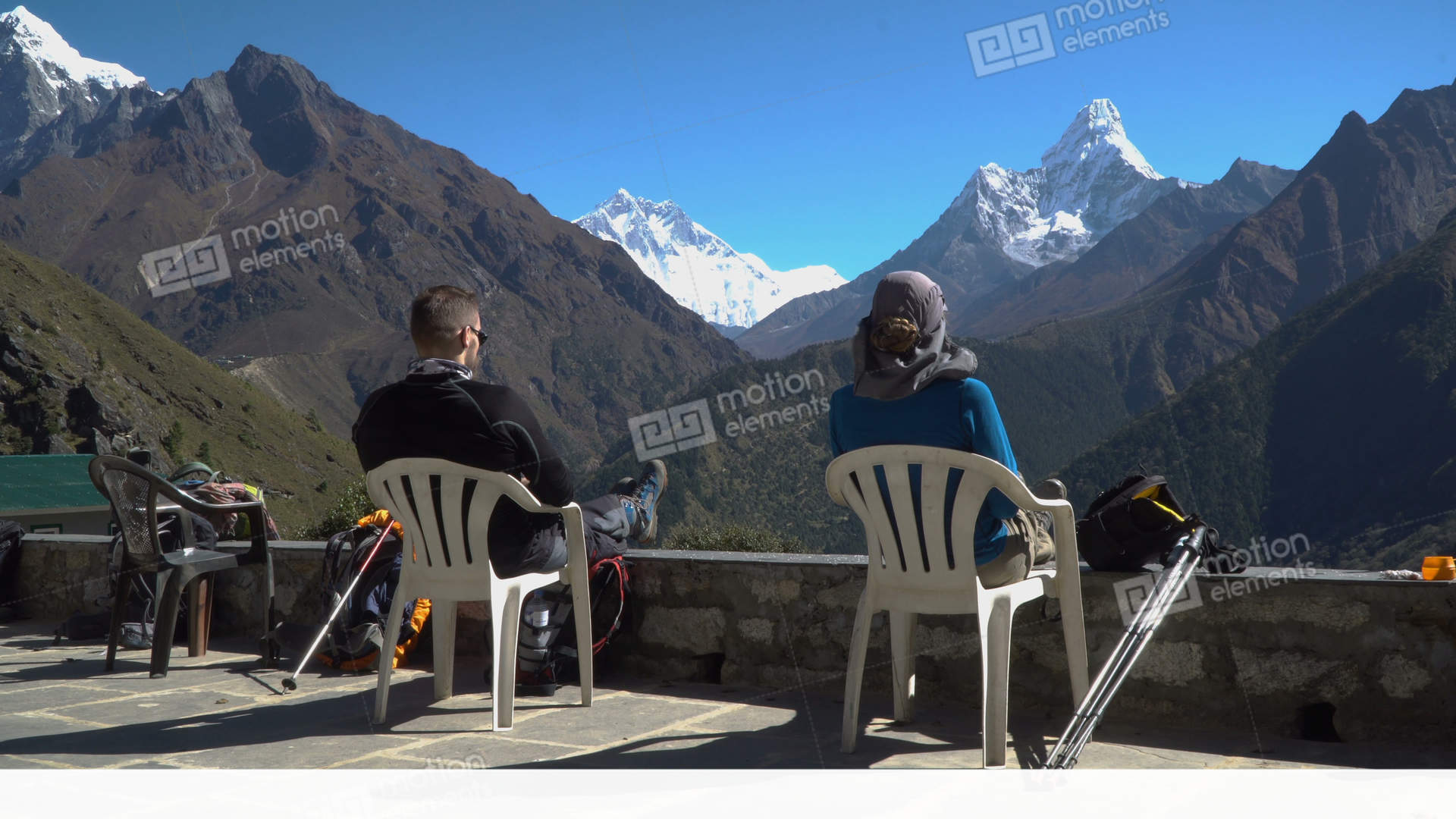 Girl And Boy Rest In The Himalayan Mountains Stock video