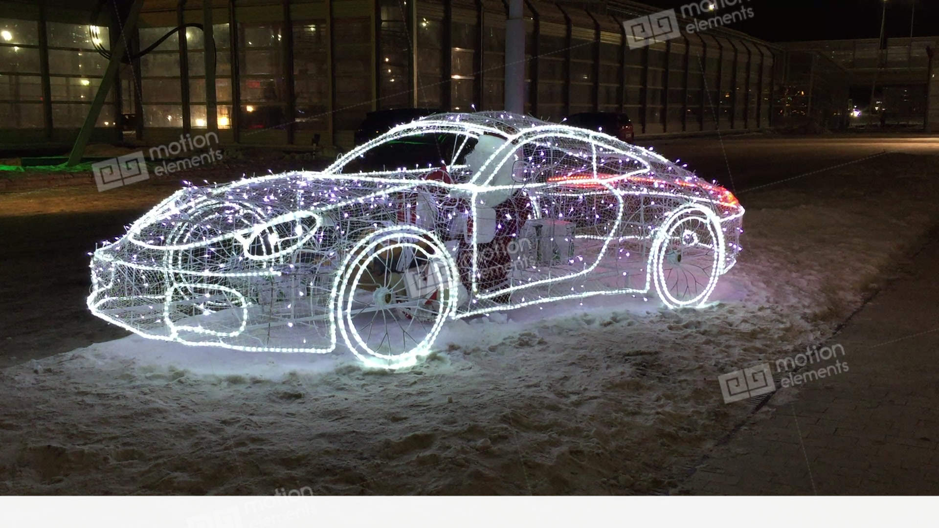 car frame with flashing lights at night on the street. cold snow