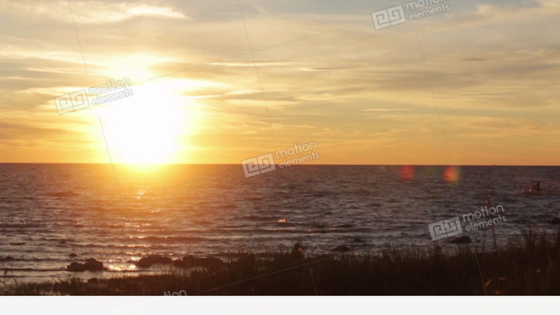 Beautiful Summer Sea Sunset From Hill. Sparkling Sun... Stock Video Footage