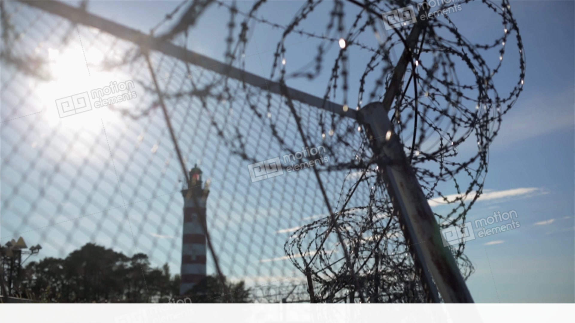 Barbed Wire Fence Under Sun Focus In Out. Summer. Jail. Lighthouse ...