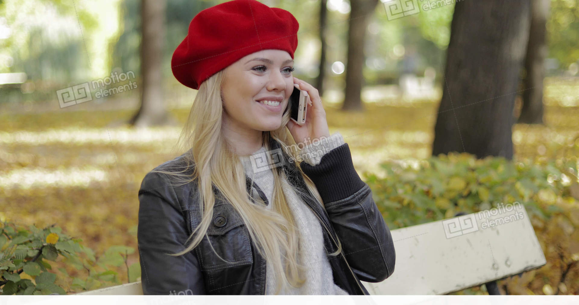 Pretty Woman In Beret Speaking On Phone Stock video footage  774bf5d83a8