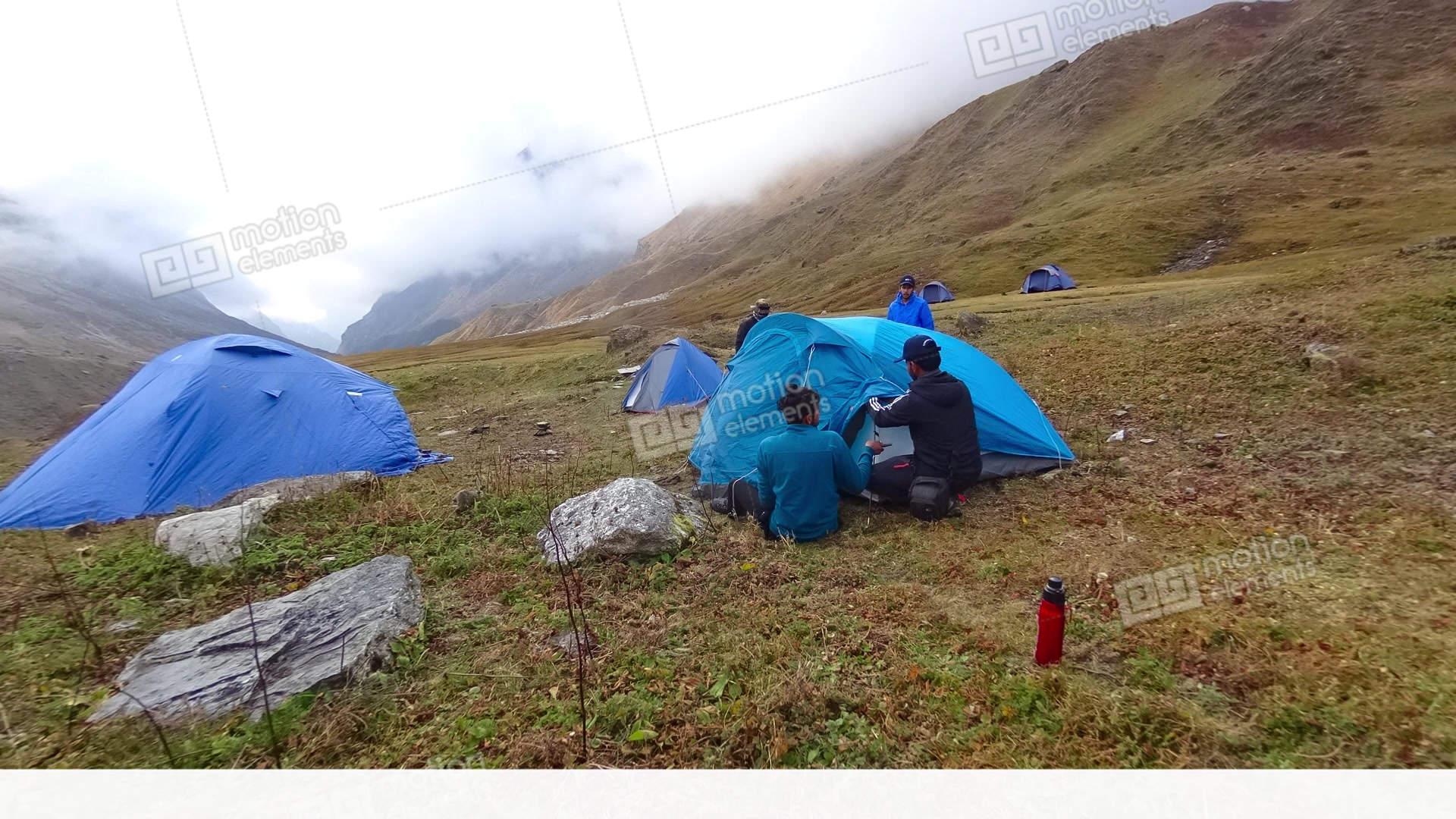 Tent Pitch Pindari Base C& B Stock Video Footage & Tent Pitch Pindari Base Camp B Stock video footage | 11448963