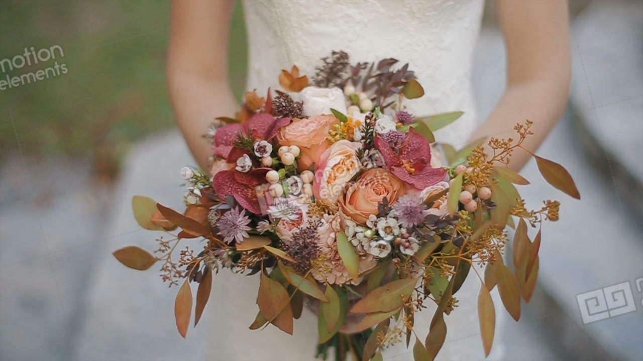 Bride is holding beautiful wedding bouquet of different flowers bride is holding beautiful wedding bouquet of different stock video footage izmirmasajfo