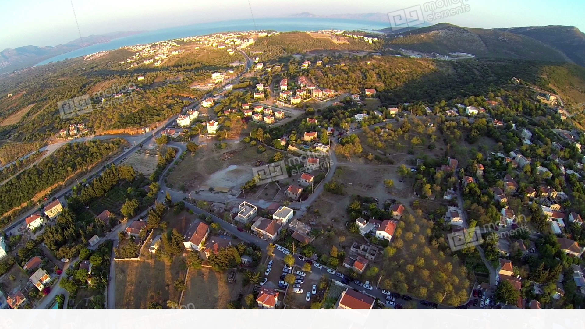 Top Down View Beautiful Village With Gardens, Houses, Nature And ...