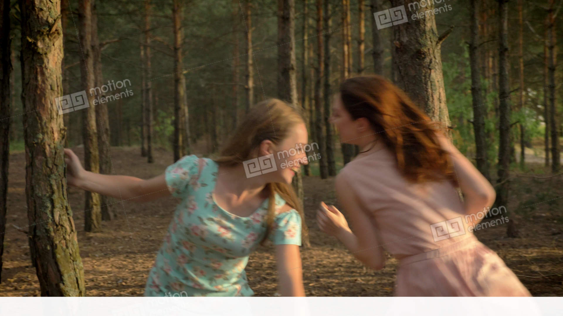 Two young Caucasian girls in dresses running through... Stock Video Footage