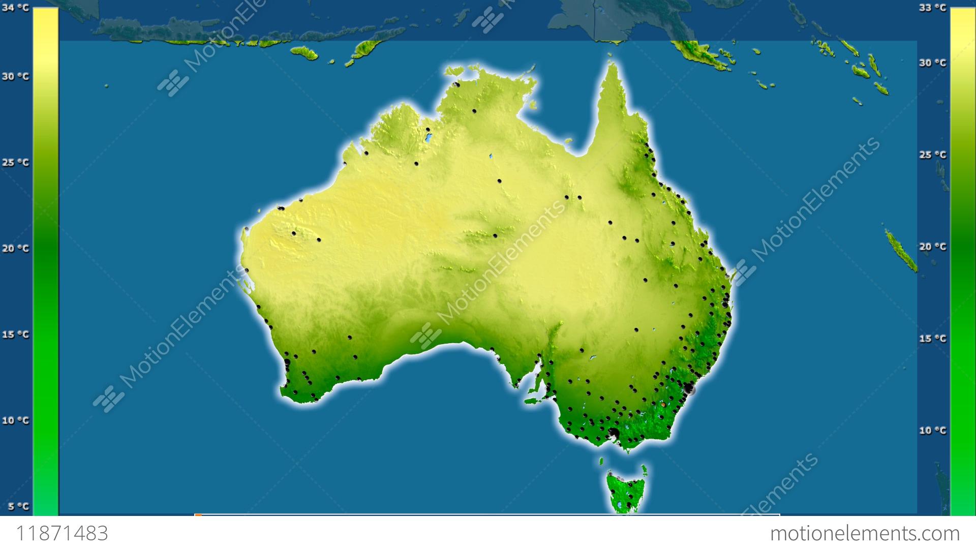 Map Of Australia Video.Australia Average Temperature Borders And Cities Stock Animation
