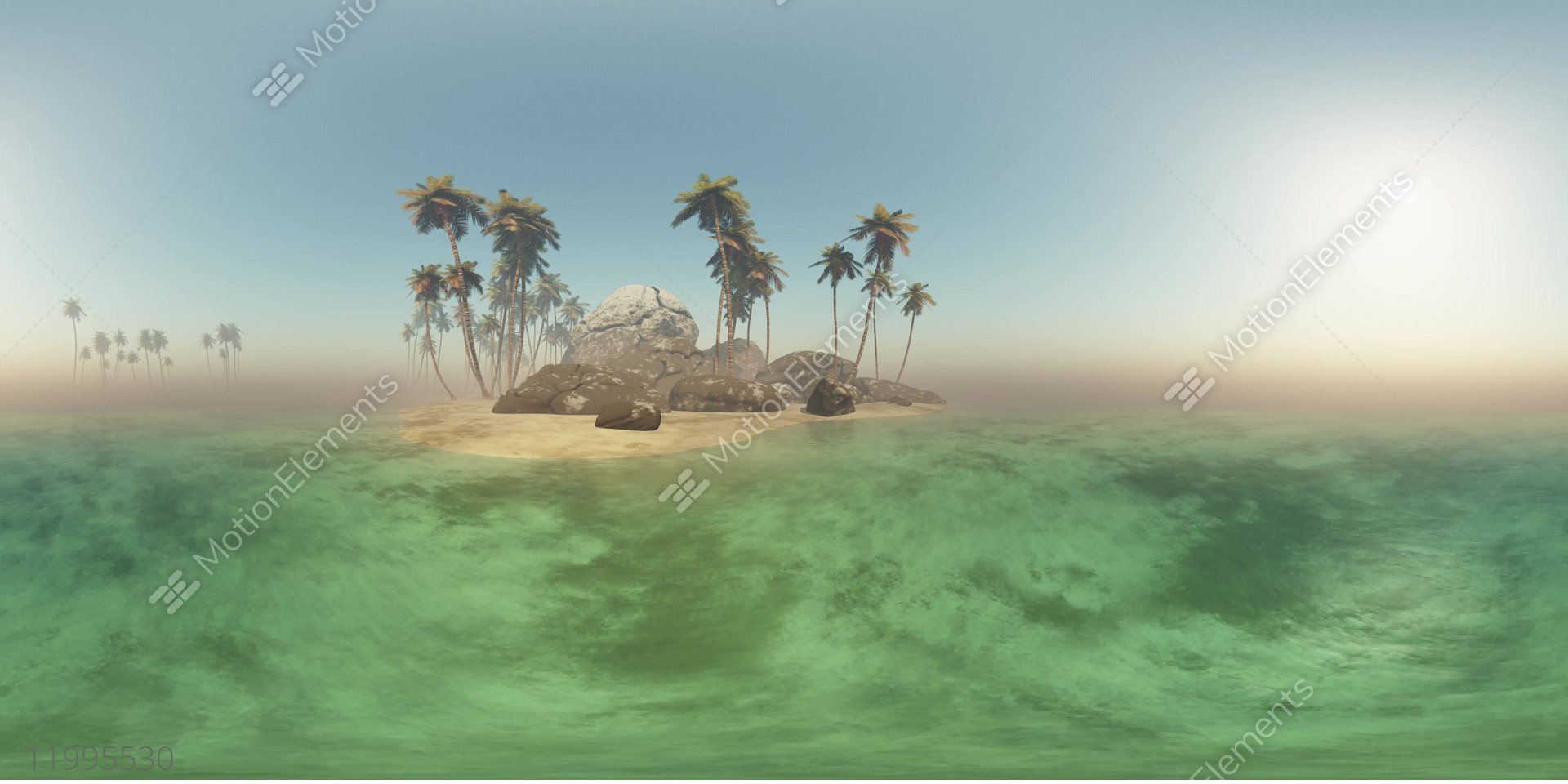 Vr 360 Panoramic Of Tropical Island Beach At Sunset Stock Video Footage