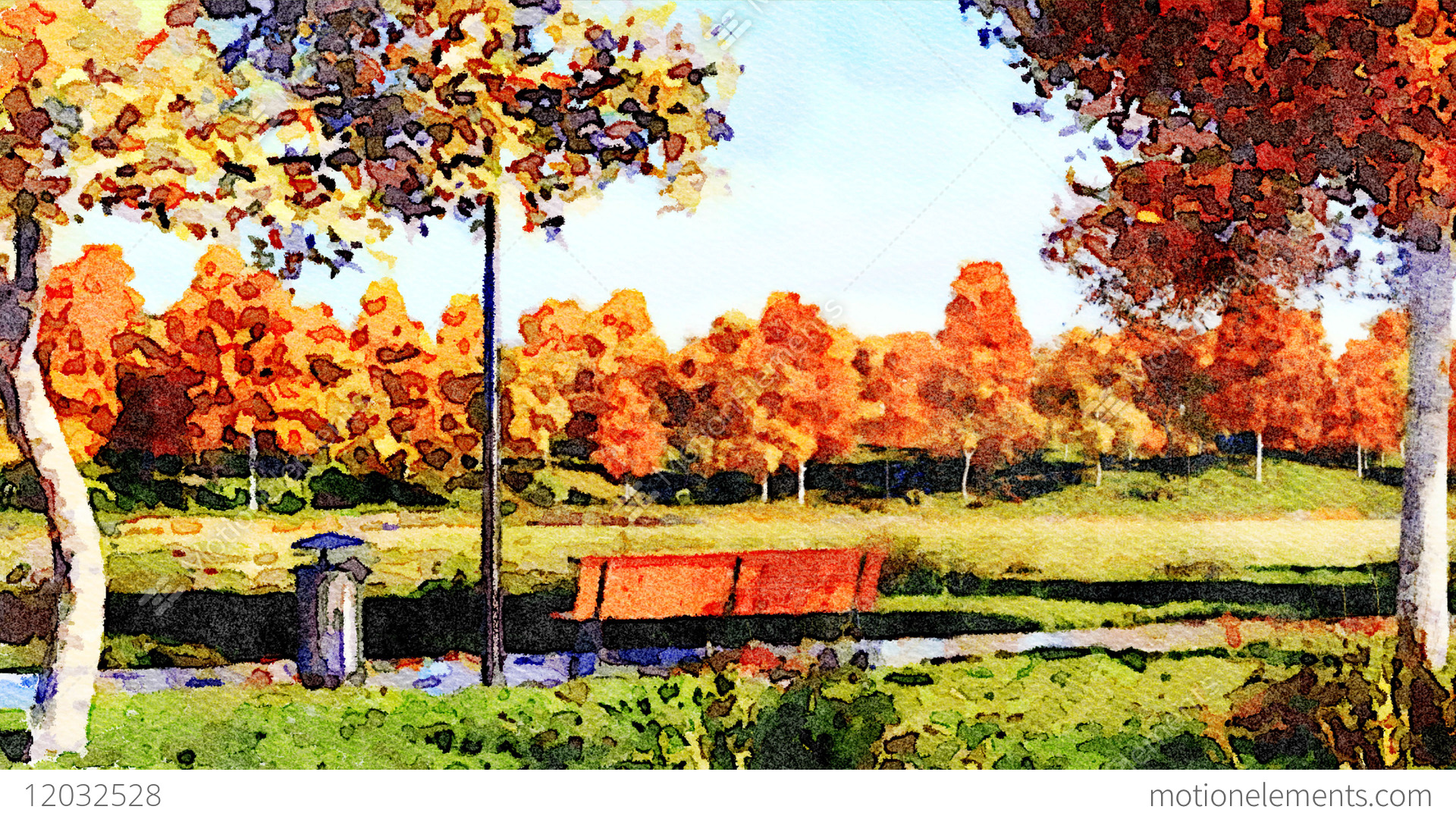 colorful autumn trees in city park watercolor landscape stock