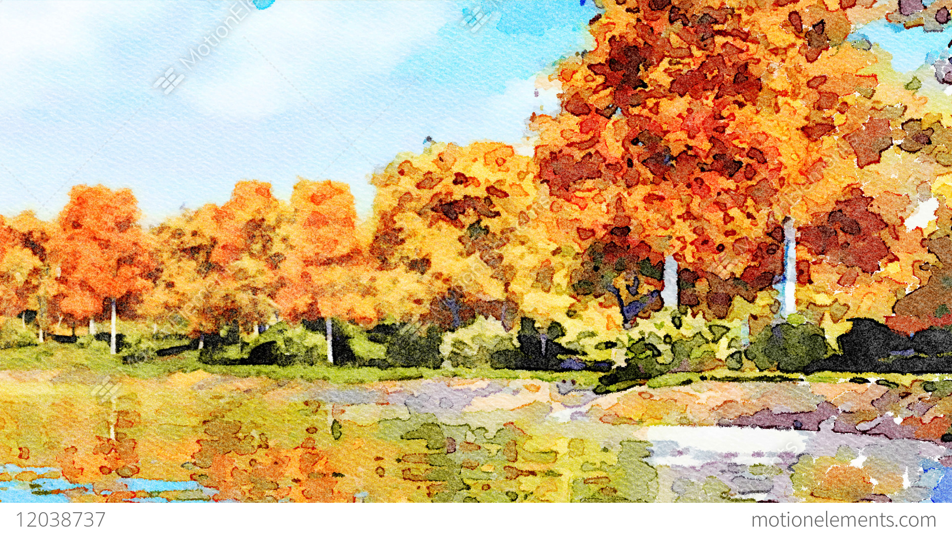watercolor landscape with autumn trees and lake stock animation