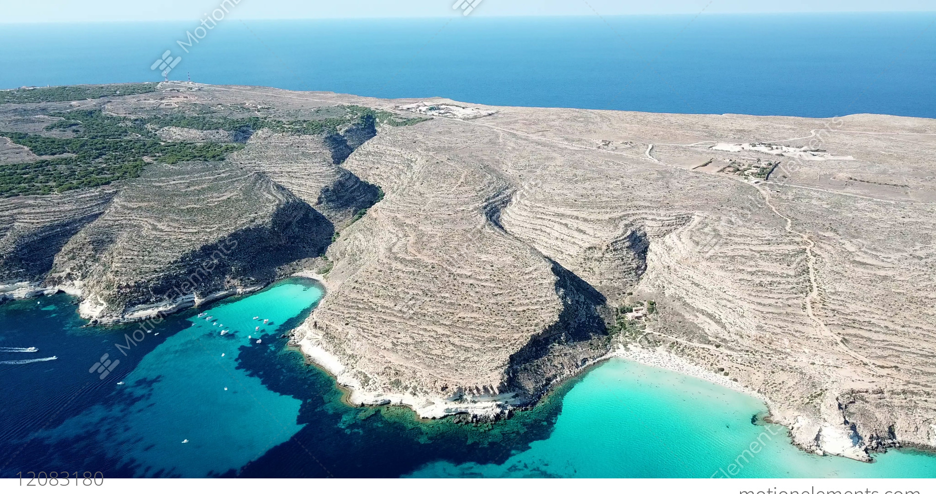 Blue Sea Water Of Lampedusa Sicily Italy From Sky Stock Video