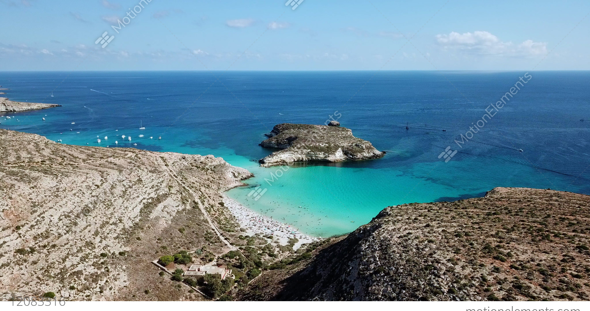 Drone Flying Over Lampedusa Island In Sicily Italy Stock Video