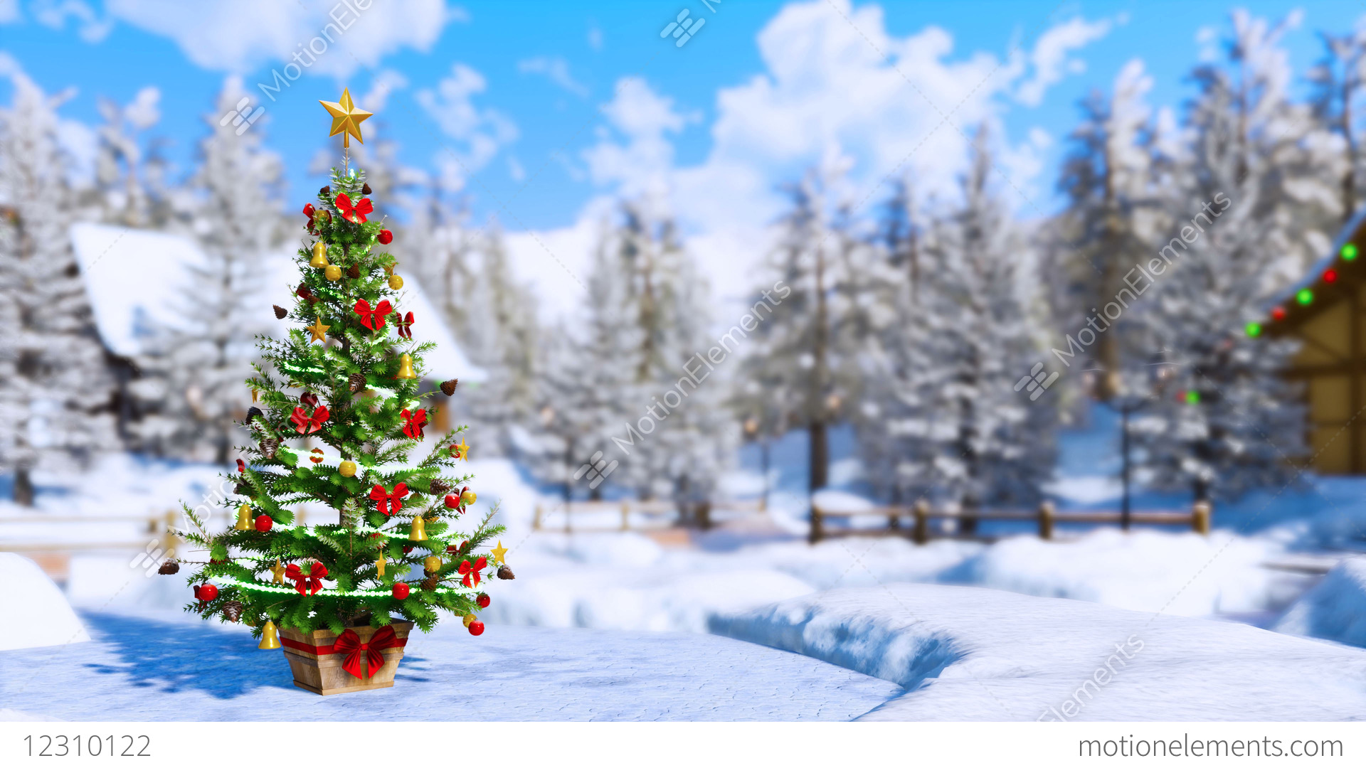Outdoor Christmas Tree On Blurred Winter Landscape Background Stock