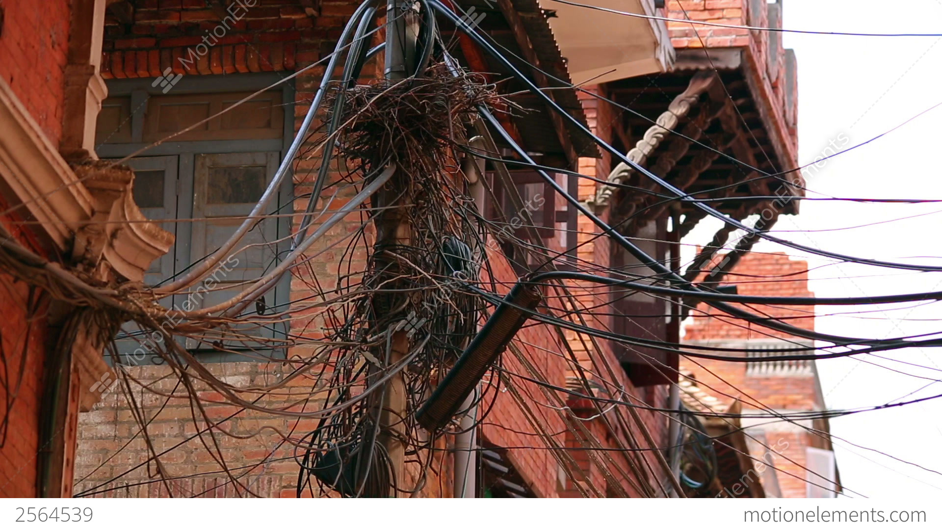 infrastructure shortage messy electric cables stock video footage