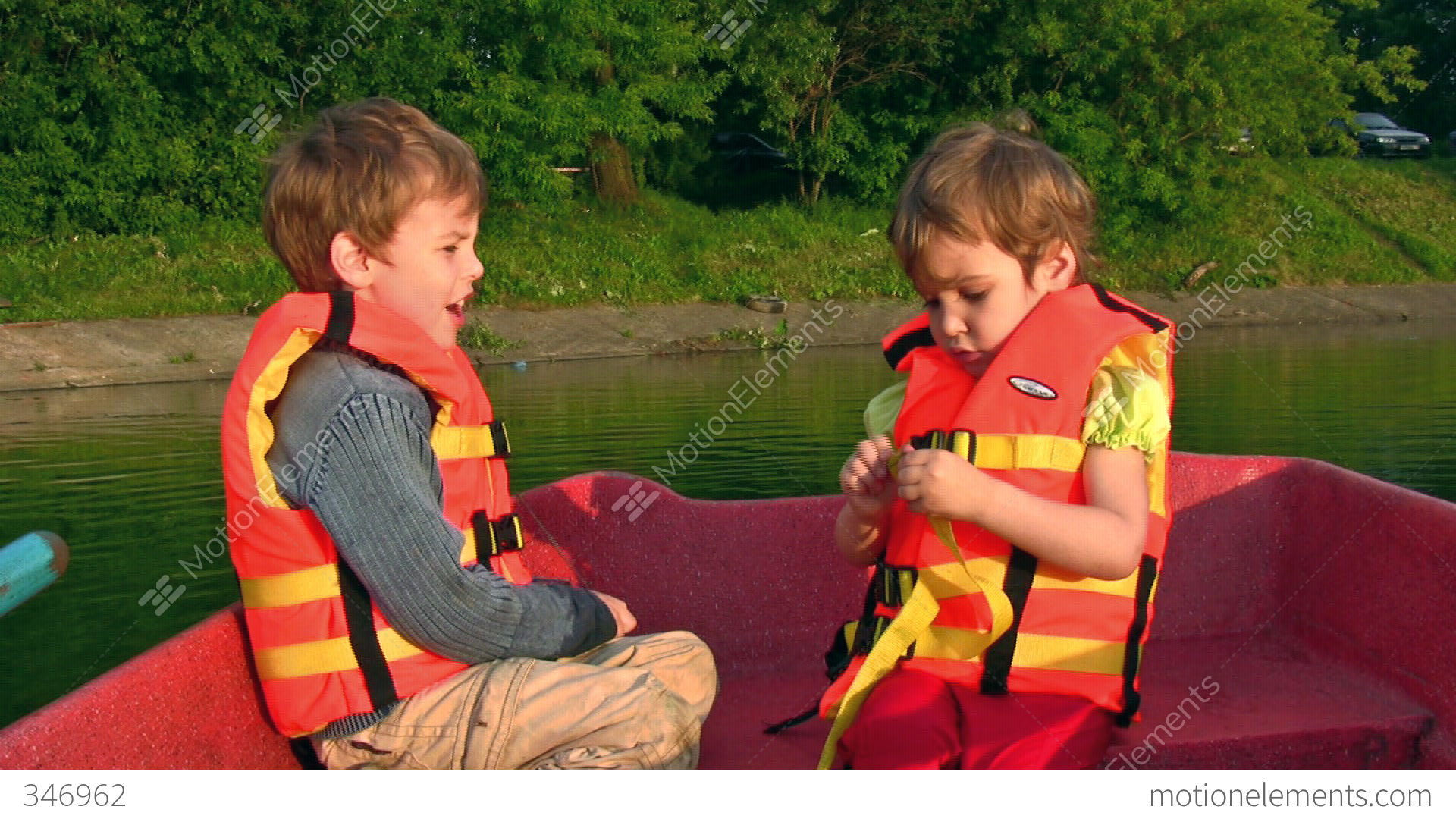Children On Boat Stock Video Footage 346962