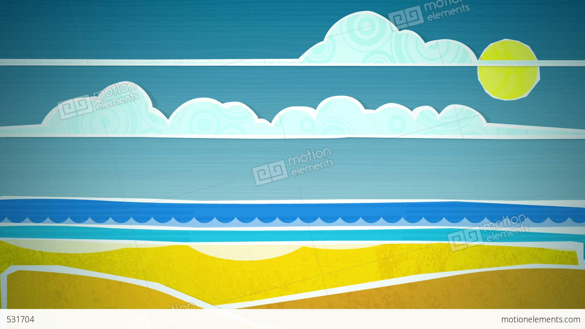 sunny beach scene loop hd stock animation | 531704