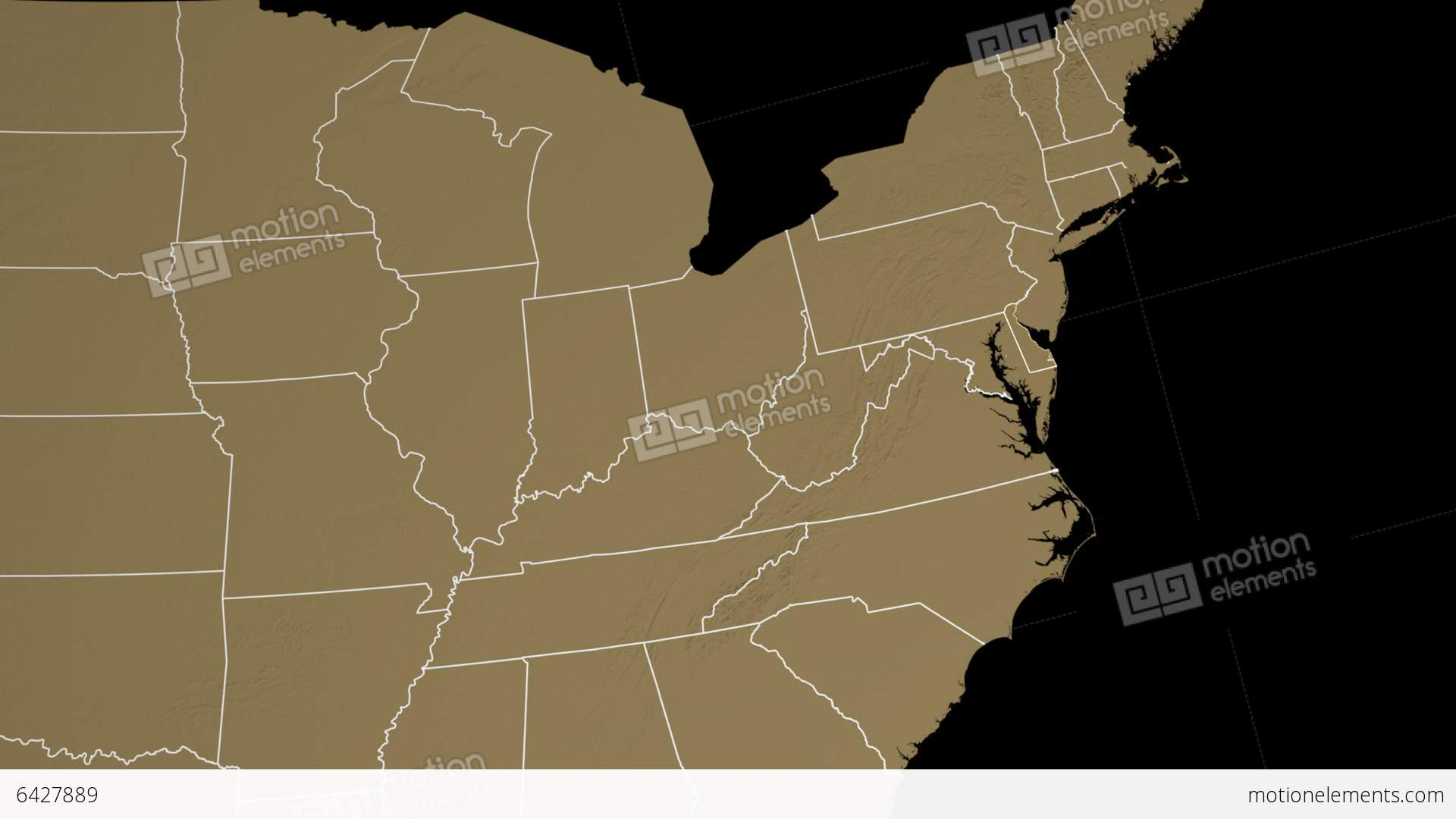 Delaware State Usa Extruded On The Elevation Map Stock Animation