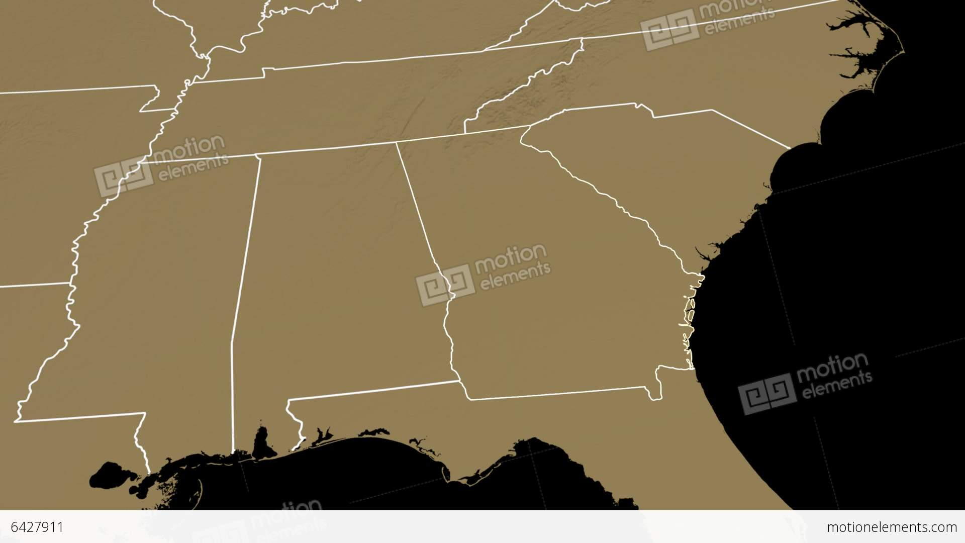 Georgia State Usa Extruded On The Elevation Map Stock Animation