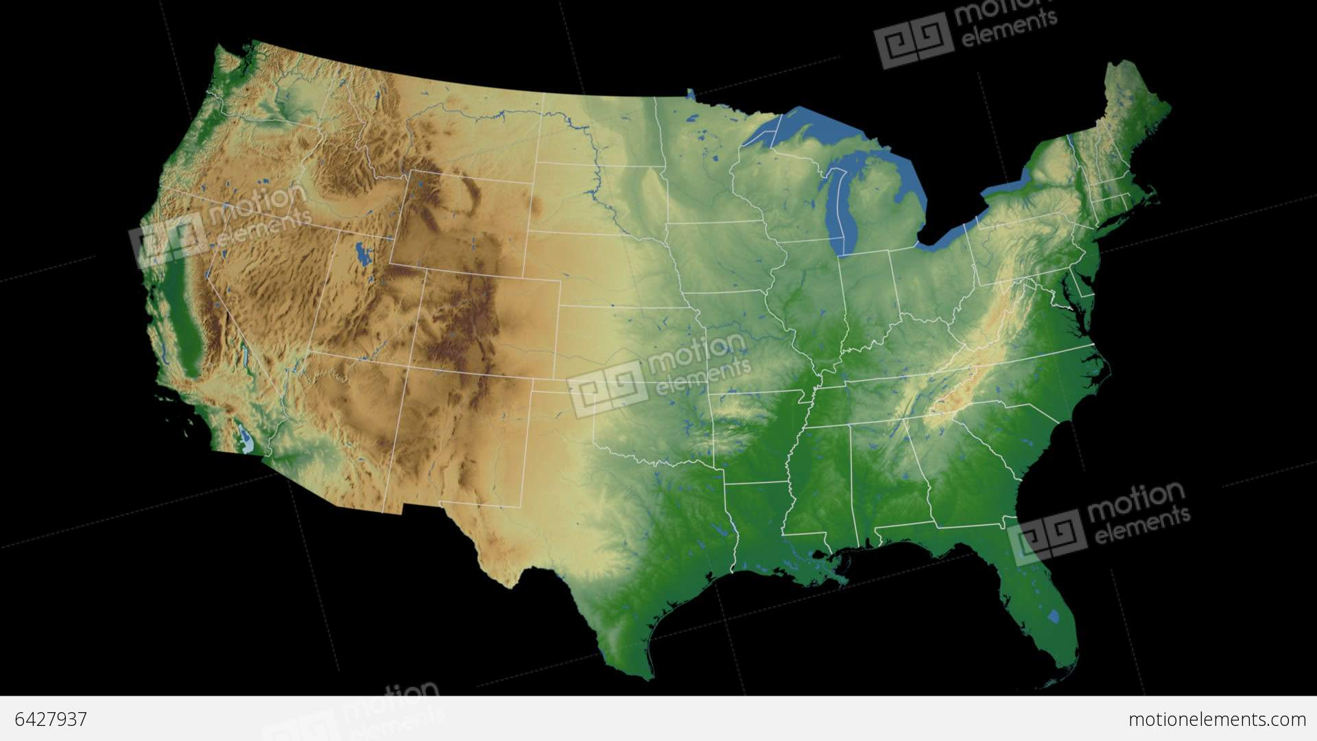 Illinois State USA Extruded On The Physical Map Stock Animation - Illinois in usa map