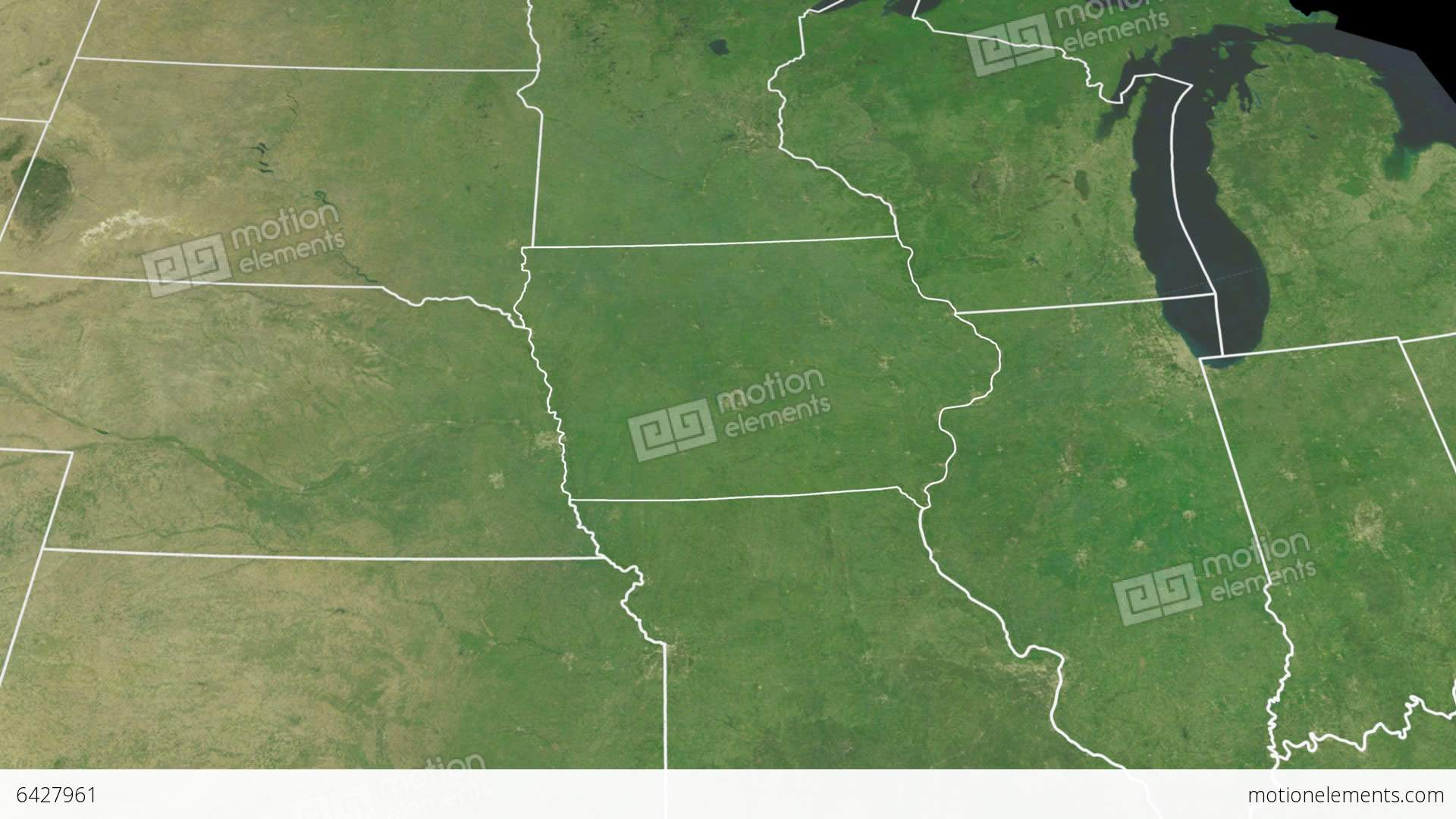 Iowa State (USA) Extruded On The Satellite Map Of Stock Animation ...