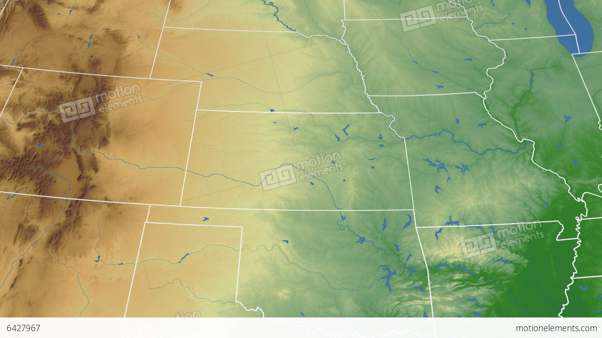 Kansas State Usa Extruded On The Physical Map Of Stock Animation