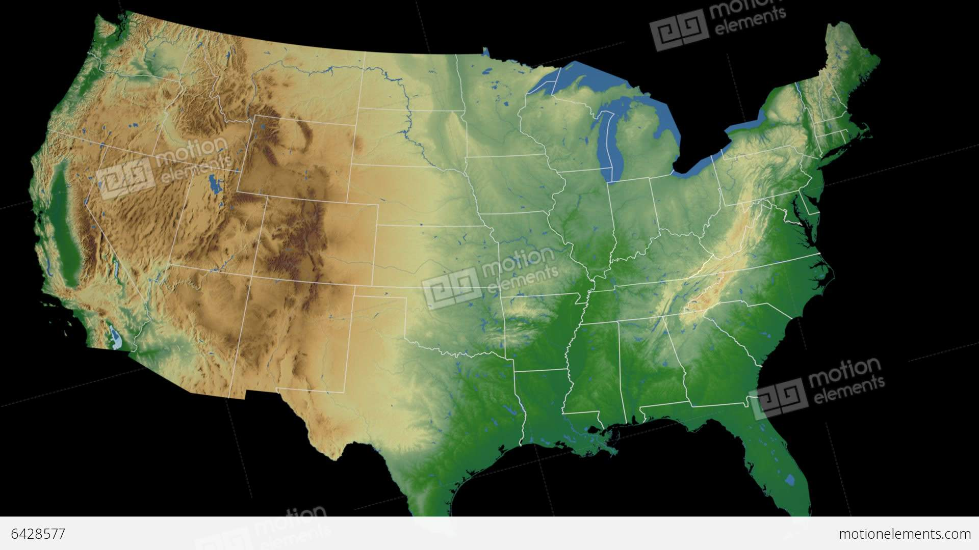 Kentucky State USA Extruded On The Physical Map Stock Animation - Map of usa physical