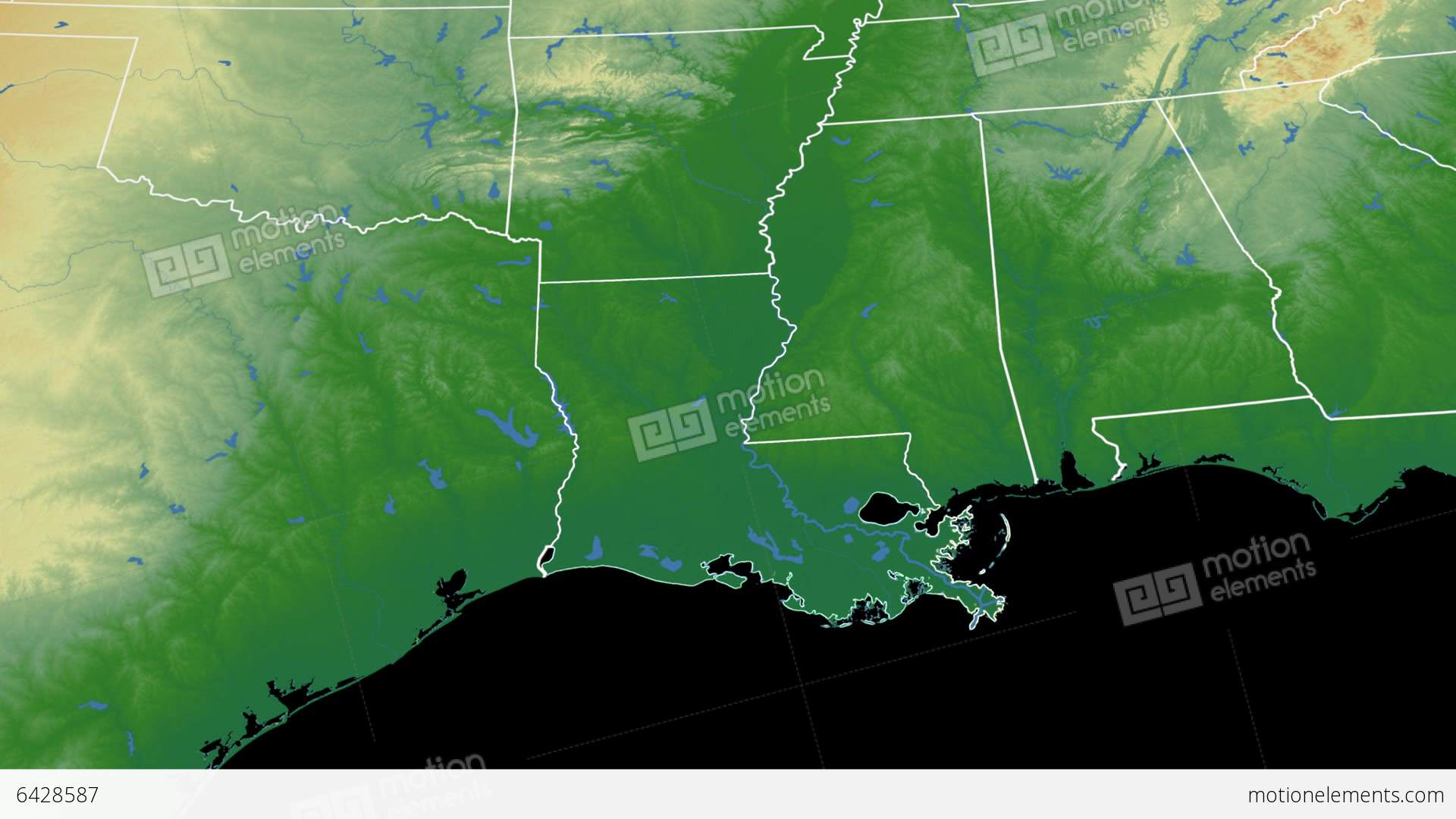 Louisiana State Usa Extruded On The Physical Map Stock Animation