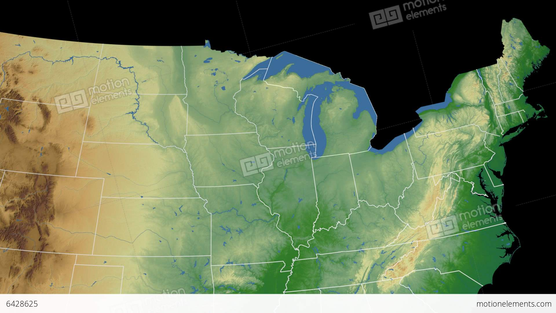 Michigan State Usa Extruded On The Physical Map Stock Animation