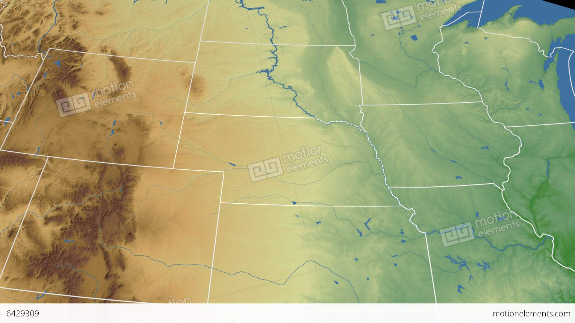 Nebraska State USA Extruded On The Physical Map Stock Animation - Nebraska physical map