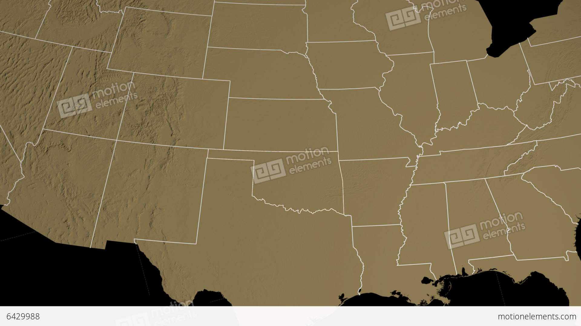 Oklahoma State Usa Extruded On The Elevation Map Stock Animation